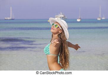 mujer, en, día feriado de playa, en, mallorca