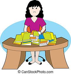 mujer, en, desordenado, escritorio