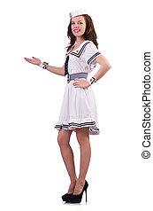 mujer, en, disfraz, manos de valor en cartera, blanco