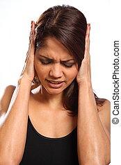mujer, en el dolor, daño, y, incredulidad