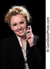 mujer, en, el, teléfono celular