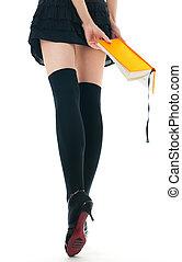 mujer, en, falda, y, medias