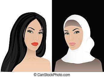 mujer, en, hijab, y, sin, hijab