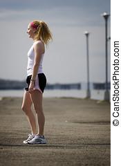 mujer, en, jogging, ropa