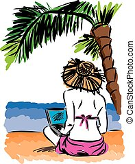 mujer, en la playa, con, computador portatil, vector, ilustración