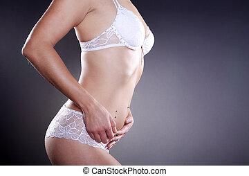 mujer, en, lenceria