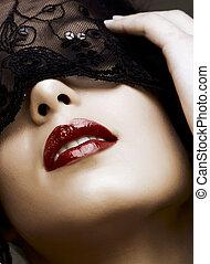 mujer, en, máscara