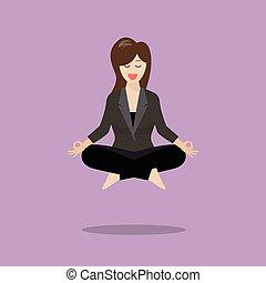 mujer, en, meditación