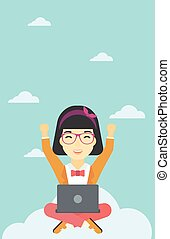 mujer, en, nube, con, computador portatil, vector, illustration.