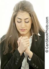 mujer, en, oración