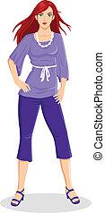 mujer, en, púrpura