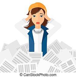 mujer, en, pila, de, newspapers.
