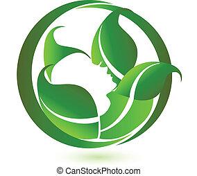 mujer, en, relajación, con, verde, leafs, icono, logotipo, vector