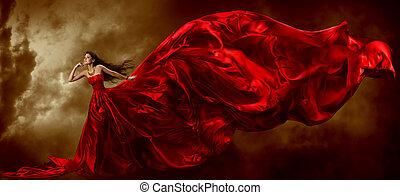 mujer, en, rojo, ondulación, hermoso, vestido, con, vuelo,...