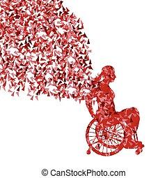 mujer, en, sílla de ruedas, vector, plano de fondo,...