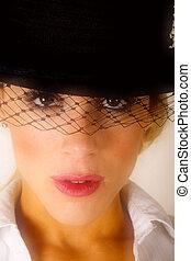 mujer, en, sombrero