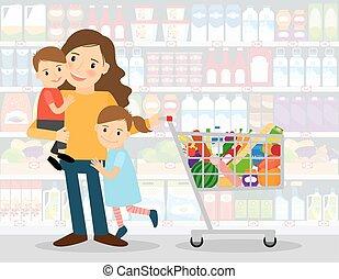 mujer, en, supermercado, con, niños