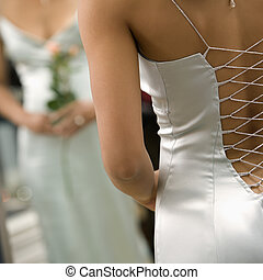 mujer, en, tarde, gown.