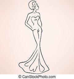 mujer, en, tarde, maxi, vestido