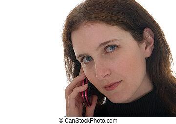 mujer, en, teléfono celular, 1