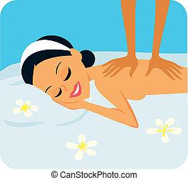 mujer, en, tratamiento del balneario