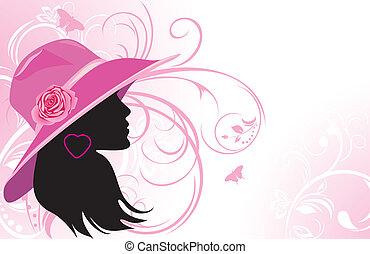 mujer, en, un, hat., moda, plano de fondo