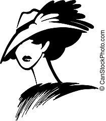 mujer, en, un, sombrero