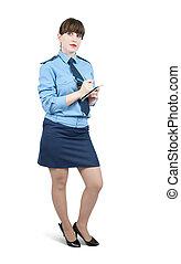 mujer, en, uniforme, escritura, en, ella, bloc