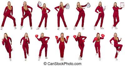 mujer, en, vario, conceptos de deportes