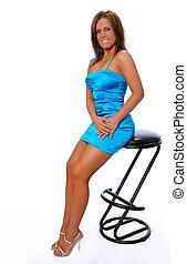 mujer, en, vestido azul