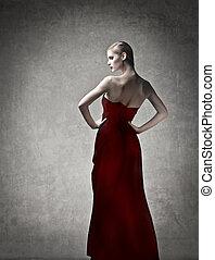 mujer, en, vestido rojo