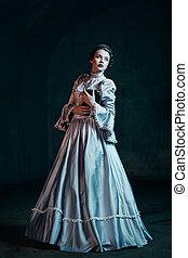 mujer, en, victoriano, vestido