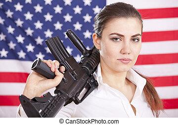 mujer, encima, bandera, arma de fuego, máquina, norteamericano