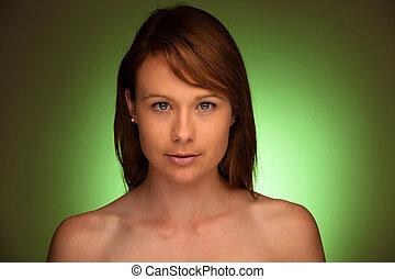 mujer, encima, joven, verde, atractivo, Plano de fondo, retrato