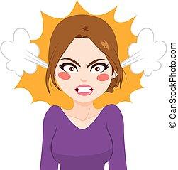 mujer enojada, vapor