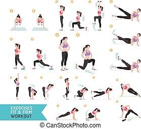 mujer, entrenamiento, condición física, aerobio, y