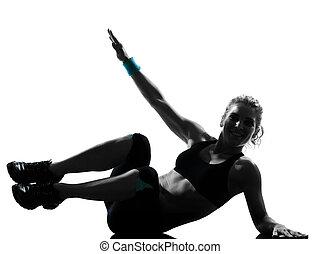 mujer, entrenamiento, condición física, postura, abdominals, empujón, aumentar