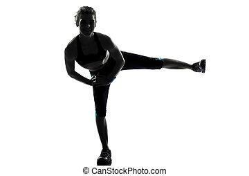 mujer, entrenamiento, condición física, postura