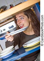 mujer, es, otorgar, el, platos