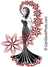 mujer, esbelto, floral, largo, plano de fondo, remolino, vestido blanco