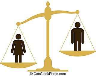 mujer, escala, hombre, desequilibrado