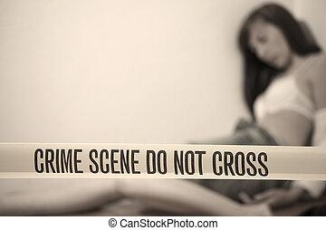 mujer, -, escena, muerto, crimen