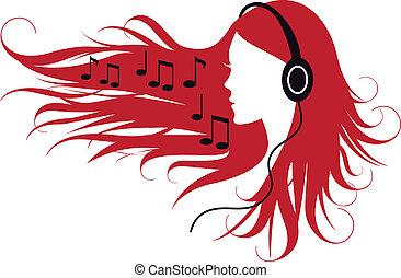 mujer, escuchar, música