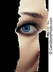 mujer, espiar, joven, pared, por, agujero