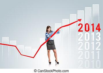mujer, estadística, curva