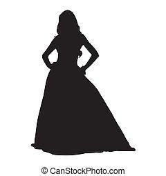 mujer estar de pie, en, largo, vestido, vector, silueta
