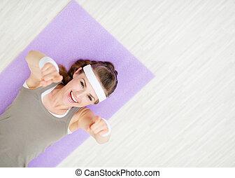 mujer, estera, señalar, colocar, condición física,...