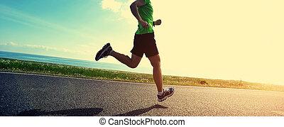 mujer, estilo de vida, sano, corredor, corriente, camino