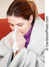 mujer, estornudar, pañuelo