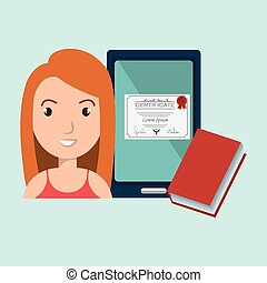 mujer, estudiante, tableta, libro, diploma